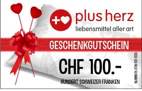 """CHF 100.- GUTSCHEIN für Laden """"plusherz"""""""