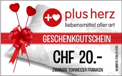 """CHF 20.- GUTSCHEIN für Laden """"plusherz"""""""