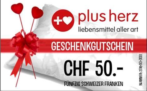 """CHF 50.- GUTSCHEIN für Laden """"plusherz"""""""